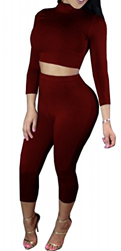 2 Piece Plain Sexy Long Sleeve Tank Top and Crop Leggings for (Crop Set)