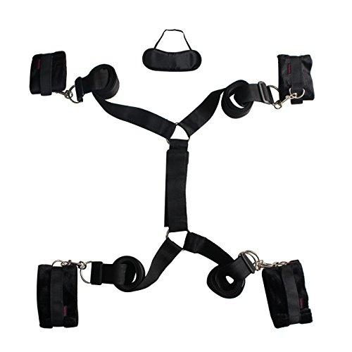Bondage-Fesseln, Paloqueth Bettfessel mit Augenmaske (schwarz)