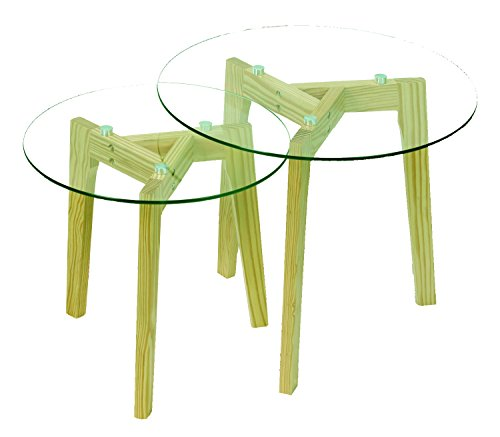 Aspect Athena Nesting Table, Clear/Natural, 50x50x45 cm by Aspect