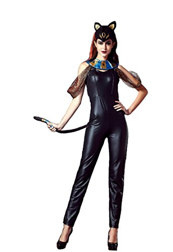 [GoLoveY Women's Sexy Egyptian Goddess Catwoman Catsuit Costume (X-Large (Chest: 36'', Waist: 31'', Length: 52''))] (Dark Knight Rises Catwoman Costume Material)