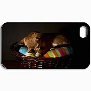 Customized Cellphone Case Back Cover For iPhone 4 4S, Protective Hardshell Case Personalized Dog Chihuahua Dog House Dog Black