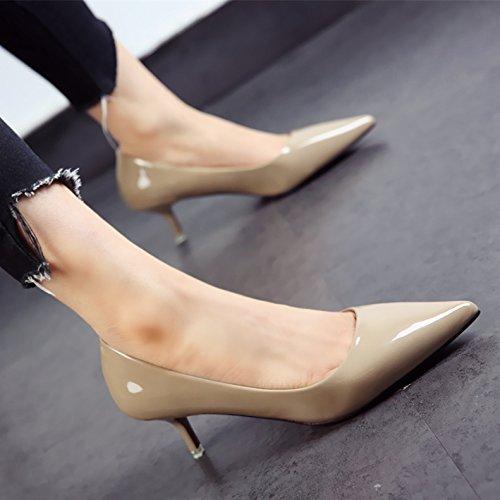 damas fina comerciante el punta zapatos FLYRCX patente moda otoño j personalidad de tacones y La zapatos primavera 6q4YqTx