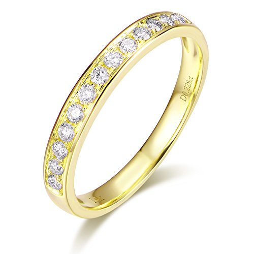 (Hafeez Center 14K Solid Gold Micro Pave Round Diamond Dainty Eternity Wedding Band Ring for Women and Girls (Yellow-Gold, 8.5))