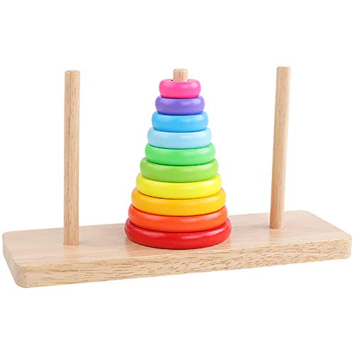(GEMEM Rainbow Stacking Rings Toy Wooden Ring Stacker Children Encouraging Imagination for Kids Above 3 Years Old Educational Stackable Toys)