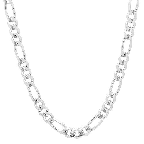 NYC Sterling Unisex 8MM Flat Light Solid Sterling Silver Figaro Chain Necklace, Made in Italy. (20