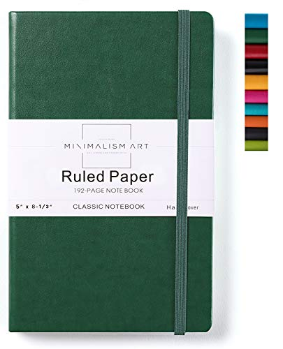 Minimalism Art, Classic Notebook Journal, A5 Size 5 X 8.3 inches, Green, Ruled Lined Page, 192 Pages, Hard Cover, Fine PU Leather, Inner Pocket, Quality Paper-100gsm, Designed in San Francisco (Hardcover College Ruled Journal)