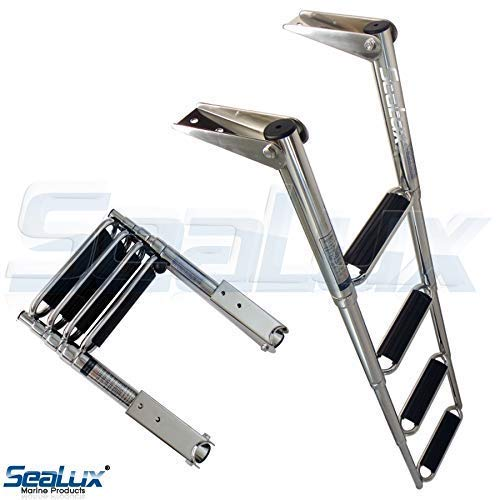 SeaLux Marine 4 Steps Drop Down Boarding Ladder with Extra Wide Curve up Steps 400 lbs. Capacity, Round Tubing Over Mount