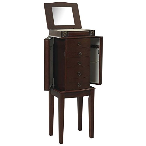 - Riverbay Furniture Jewelry Armoire in Cherry