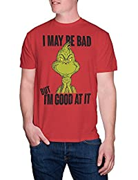Dr. Seuss Mens I May Be Bad Christmas Holiday Tee T-Shirt