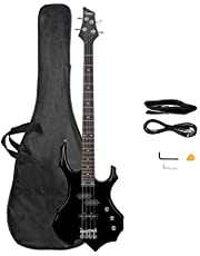 $119 » GLARRY Electric Bass Guitar 4 Strings Buring Fire Style Full Size for Beginner Right Hand with Bag, Strap and Accessories (Black)