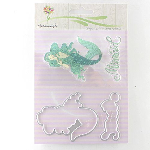 Mimgo Mermaid Silicone Stamp+ Metal Cutting Dies Stencil For Scrapbook Album Decor