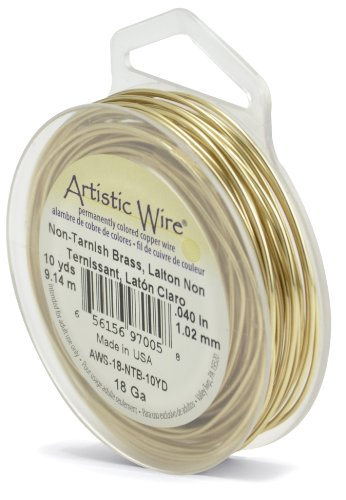 Artistic Wire 18-Gauge Non-Tarnish Brass Wire, 10-Yards ()