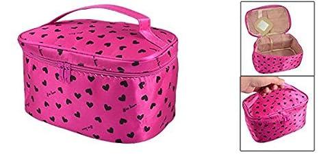 Amazon.com: eDealMax corazón de las Mujeres de la cremallera del rectángulo Impreso Bolsa de cosméticos Bolsa Fucsia: Health & Personal Care