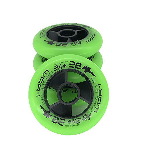 JieKeHaiDao 85A PU Inline Speed Skate Wheels Without Bearings (Pack of 4) Size 110mm and 100mm and 90mm for Choose (Green, 90mm)