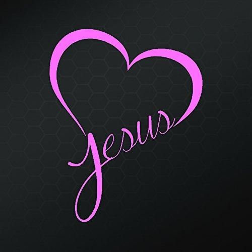 Jesus Heart Vinyl Decal Sticker | Cars Trucks Vans Walls Laptops Cups | Pink | 5.5 In | KCD843P