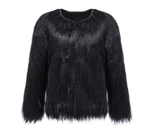 YiLianDa Moda Donna Corta Giacca Pelliccia Sintetica Cardigan per Autunno e Inverno Nero