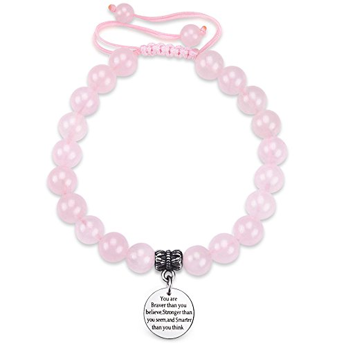- Jeka Rose Quartz Quote Bracelet for Women Girls Pink Crystal 8mm Beads Engraved Message Charm Inspirational Positive Words Healing Energy Jewelry