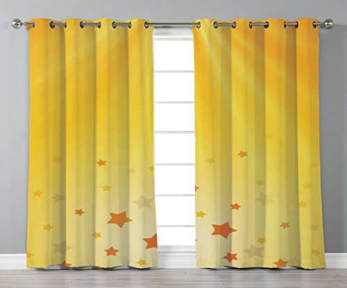 Thermal Insulated Blackout Grommet Window Curtains,Yellow,Reflection of Rising Sun with Various Star Images Sky Home Decoration Decorative,Orange Yellow,2 Panel Set Window Drapes,for Living Room Bedro -