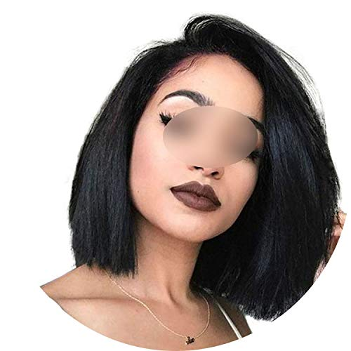 250% Density Bob Wig Short Lace Front Human Hair Wigs For Women 13X6 13X4 Brazilian Straight Remy Hair,360 Lace Frontal Wig,14inches,150%,#1B