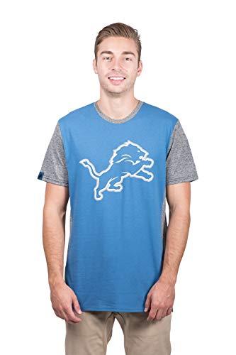 ICER Brands NFL Detroit Lions Men's T-Shirt Raglan Block Short Sleeve Tee Shirt, Small, Blue