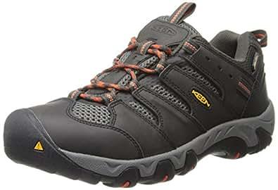 KEEN Men's Koven Waterproof Hiking Shoe,Raven/Red Clay,7 M US