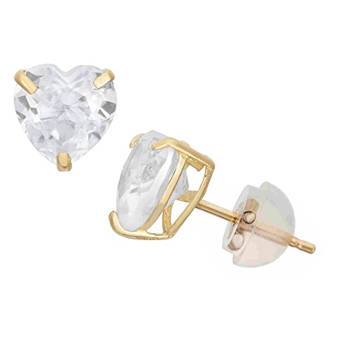 Celebrity Cz Jewelry - 14K Yellow Gold Cubic Zirconia Heart CZ Stud Earring Comfort Fit -7mm