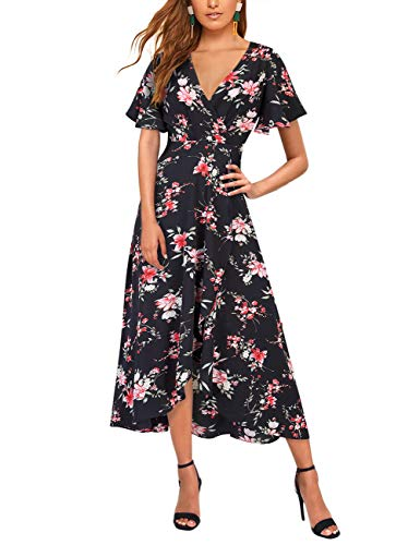 GloryStar Womens Floral Print Boho Chiffon Maxi Wrap Split Flowy High Low Beach Party Dress