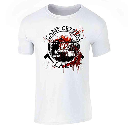 Pop Threads Camp Crystal Lake Counselor Costume Staff Bloody White XL Short Sleeve T-Shirt
