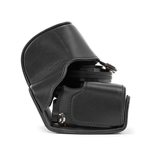 MegaGear Leder Kameratasche Spiegelreflexkamera für Sony Alpha A5000, Sony A5100 mit 16-50mm Objektiv OSS (Schwarz)
