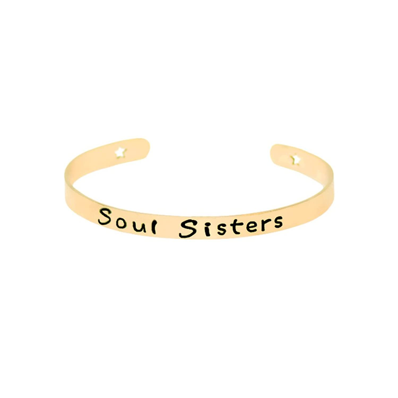 """SOUL SISTER"" Open Cuff Bangle Bracelet - Adjustable Stainless Steel Bracelet Gift for Sister"