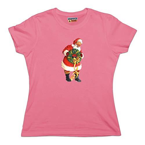 Christmas Holiday Santa Holding Wreath Novelty T-Shirt - Pink - Women's Medium
