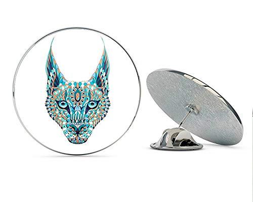 BRK Studio Colorful Watercolor Celtic Aztec Lynx Totem Tattoo Design Round Metal 0.75