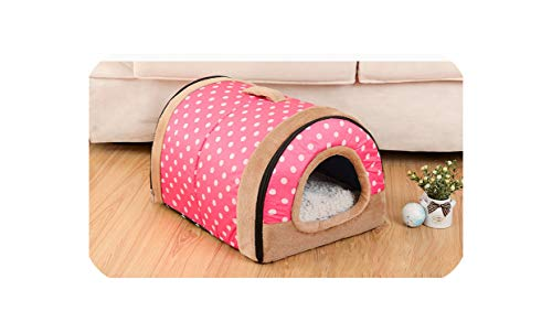 (Star Harbor Dog House Nest with Mat Foldable Home Pet Dog Bed Cat Puppy Dog Kennel for Small Medium Dogs Animals Beds Mat Cushion,Red dot,35cmx26cmx28cm)