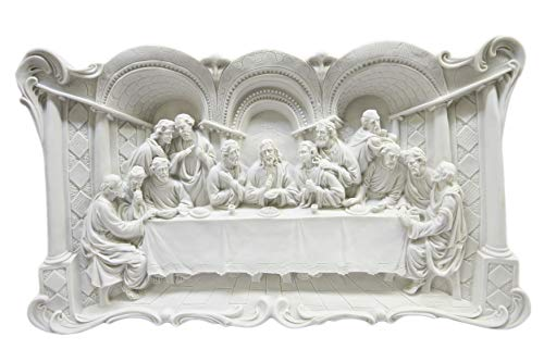 Large White Wall Plate Plaque of The Last Supper Jesus Christ Statue 3D by Vittoria Collection Made in Italy ()