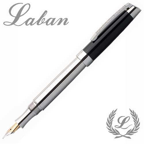 a14d19d1e117 Laban Swarovski Crystal 1 Silver Resin Fountain Pen - Silver Black