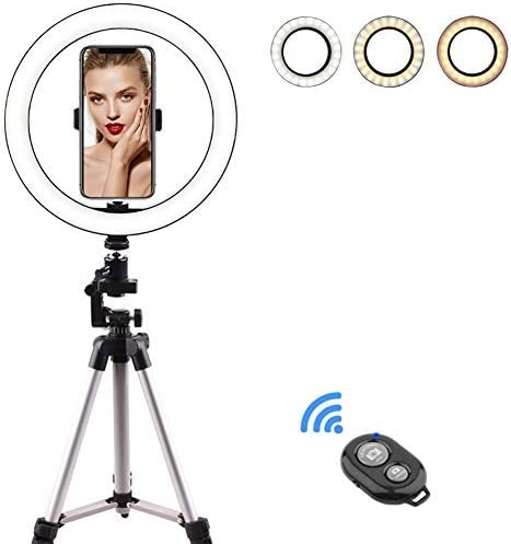 10-inch 8W LED Ring Flash with Monopod Stand and Mobile Phone Holder for Lights for Live Streaming