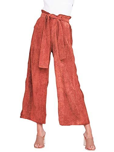 BerryGo Women's Casual High Waist Corduroy Wide Leg Pants Tie Up Long Trousers Brown,M
