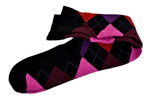 Hue Women's Argyle Knee Socks, Black/Deep Burgundy, Medium