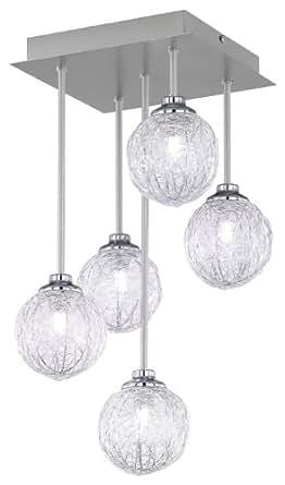 Paul Neuhaus 2769-55 - Lámpara de techo (5 bombillas de G9, 28 W), color acero