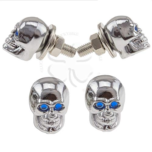 Chrome Motorcycle Bolts - License Plate Bolt Blue Motorcycle Car Tag Skull Bolt