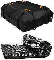 Milue Bolsa de teto preta resistente impermeável para carro 420D Oxford de tecido para teto de carga para carr