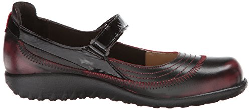 Crinkle Mary Flat Footwear Women's Volcanic Kirei Leather Leather Patent Red Black Jane Naot nqwxAv