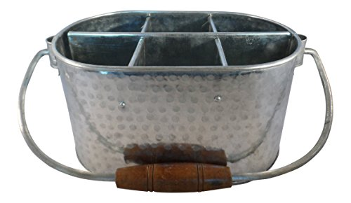 Galvanized Tin Picnic Utensil Caddy Organizer or Condiment or Beer Bottle Holder (Hammered)