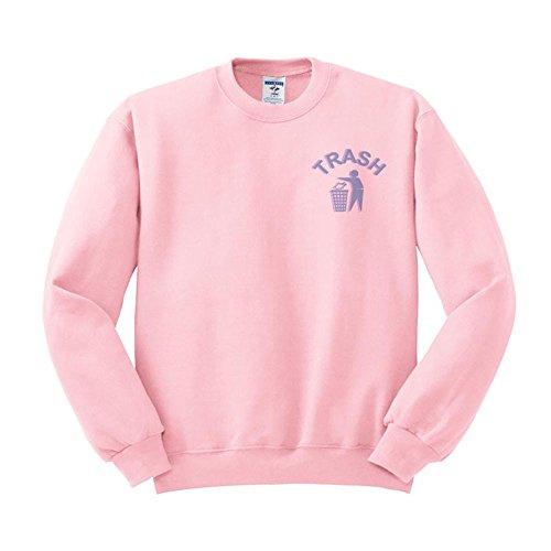 TeesAndTankYou Trash Cyber 90s Tumblr Sweatshirt Unisex Large Pink