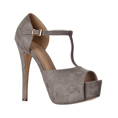 Sexy Peep Toe Platform Pump - Riverberry Women's Abby Peep Toe Platform T-Strap High Heel Pump, Grey Suede, 7