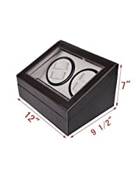 Generic ation 4+6 Display Box Black Brown Winde Storage Case age C Leather Automatic ch Winder St Rotation 4+6 ther Aut Watch Winder Automati