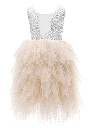2Bunnies Girl Beaded Peony Lace Back A-Line Tiered Maxi Tutu Tulle Flower Girl Dress (Ivory Maxi Bead, 12 Months)]()