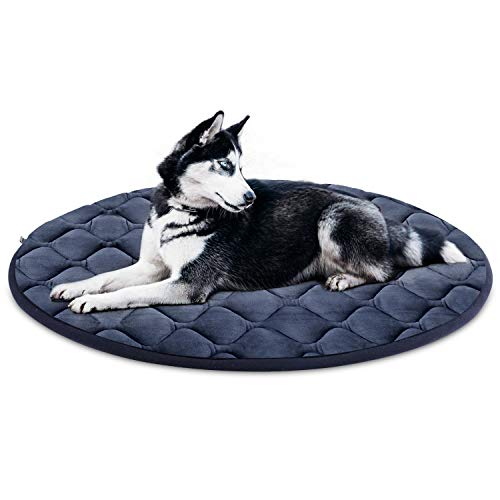 Hero Dog Large Dog Bed Crate Pad Mat Washable 31.5/39/47in Anti Slip Kennel Mattress for Pet Sleeping Grey L (Round Bed Outdoor)