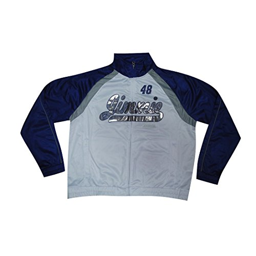 (PLUS SIZE NASCAR Jimmie Johnson #48 Womens Zip-Up Track Jacket(FOIL PRINT) XXL White )