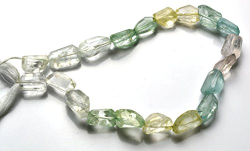 JP_Beads 1 Strand Natural 9 inch Natural Gemstone Super Quality Multicolor Aquamarine Faceted Nuggets Beads 9 to 17 MM
